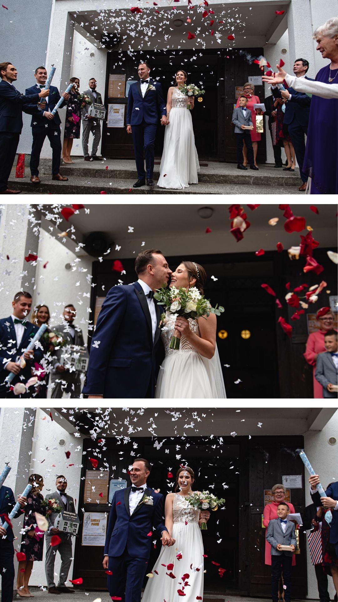 Św. Floriana Kolbudy, Ślub kościelny, przysięga kościelna, wzruszenie podczas przysięgi, say yes, wyjście z kościoła, wystrzelenie konfetti,