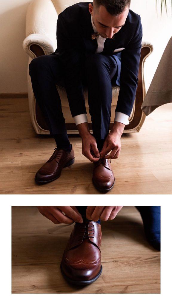 wiązanie butów, przygotowania Pana Młodego, sznurowanie obuwia ślubnego, obuwie na ślub