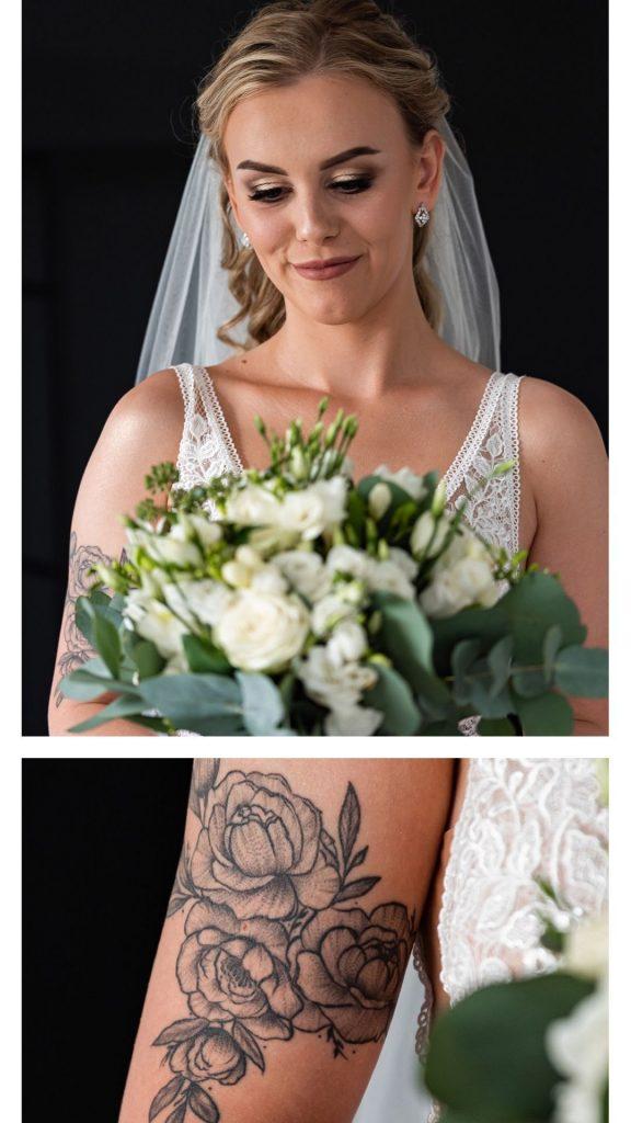 tatuaż, Pani Młoda, bukiet ślubny, Portret Pani Młodej, Pani Młoda z tatuażem,
